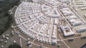 Modell eines neu zu bauenden Stadtviertels