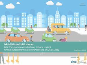 Grafik mit einer Straße, auf der Autos und Busse fahren, im Hintergrund stehen hohe Häuser.
