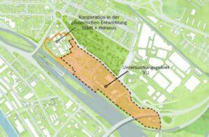 Karte mit Gebiet des neuen Hauptbahnhof-Areals